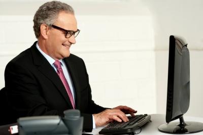 Banker Trolling at Computer